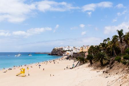 MORRO JABLE, FUERTEVENTURA, SPAIN - SEPTEMBER 2, 2017: View on the beach Playa de Matorral, promenade and town of Morro Jable.