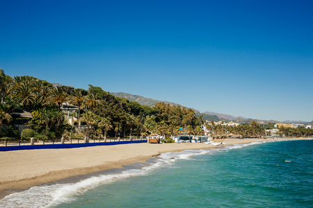 Beach next to The Golden Mile, promenade that joins Puerto Banús and Marbella.
