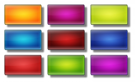 Set of glass, glossy, colored, web buttons Stock Photo - 19866923