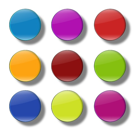 variability: Set of web buttons made ​​of glass, shiny, colorful, round Stock Photo