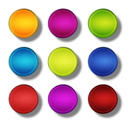 Set of web buttons made ​​of glass, shiny, colorful, round Stock Photo - 20192746
