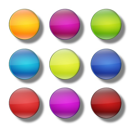 shiny buttons: Set of web buttons made of glass, shiny, colorful, round