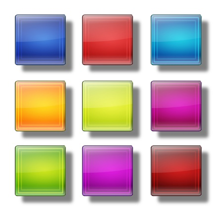 shiny buttons: Set of web buttons made of glass, shiny, colorful, squares