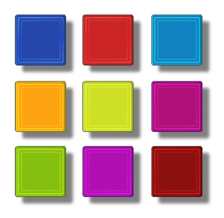 fuchsia color: Set of web buttons made of glass, shiny, colorful, squares