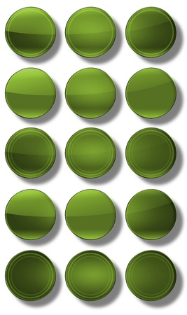 Set of web buttons made ​​of glass, shiny, colorful, square, rectangle, circle, Stock Photo - 20192838