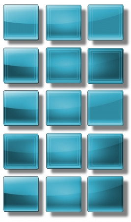 fuchsia color: Set of web buttons made of glass, shiny, colorful, square, rectangle, circle,