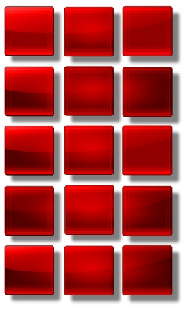 variability: Set of web buttons made of glass, shiny, colorful, square, rectangle, circle,