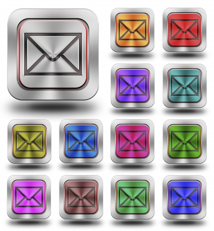 Aluminum, steel, chromium E-mail glossy icons, crazy colors photo