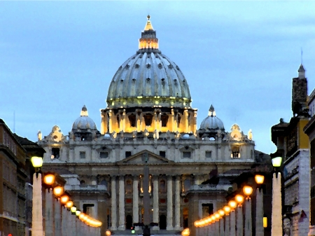 Rome, St. Peters Basilica, pen drawing, watercolor photo
