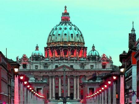 Rome, St. Peters Basilica, pen drawing, watercolor
