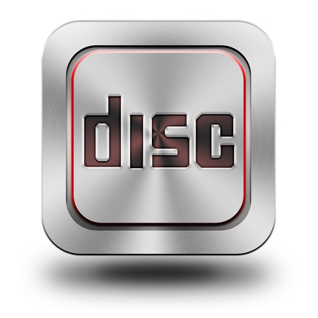 chromium: Disc, aluminum, steel, chromium, glossy, icon, button, sign, icons, buttons, crazy colors Stock Photo