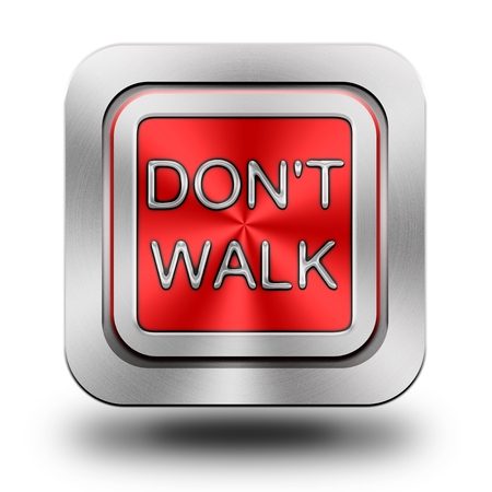 dont walk: Dont walk, aluminum or steel, glossy icon, button Stock Photo