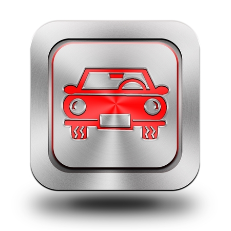Car aluminum or steel glossy icon, button, sign photo