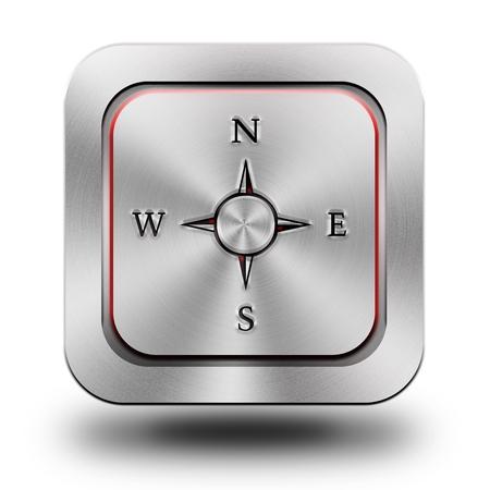 Compass aluminum or steel glossy icon, button Standard-Bild
