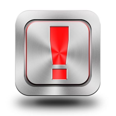 brushed aluminum: Exclamation, brushed aluminum or stainless steel, shiny icon, button