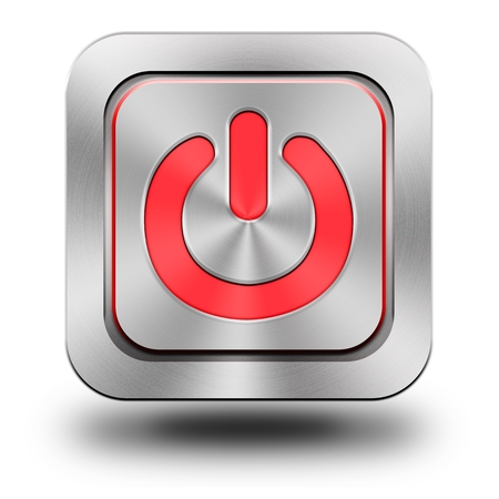 chromium: On-Off, aluminum, steel, chromium, glossy, icon, button, sign, icons, buttons, crazy colors Stock Photo
