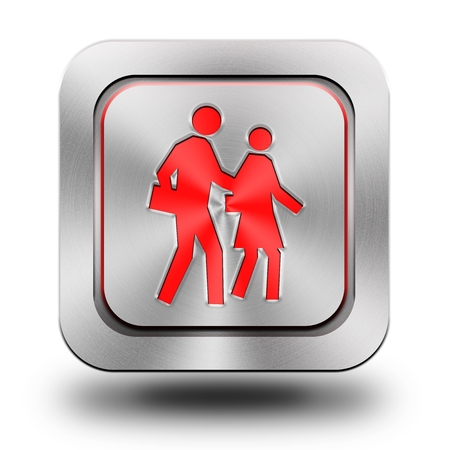 brushed aluminum: Pedestrian , brushed aluminum or stainless steel, glossy icon, button, sign Stock Photo