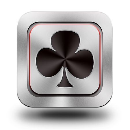 Playing Card, trefl, , brushed aluminum or stainless steel, glossy icon, button, sign photo