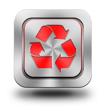 brushed aluminum: Recycle, brushed aluminum or stainless steel, glossy icon, button, sign