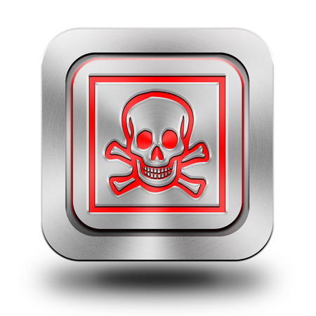 Skull , brushed aluminum or stainless steel, glossy icon, button, sign Stock Photo - 23951412