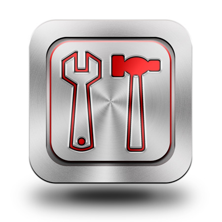 Tools , brushed aluminum or stainless steel, glossy icon, button, sign photo