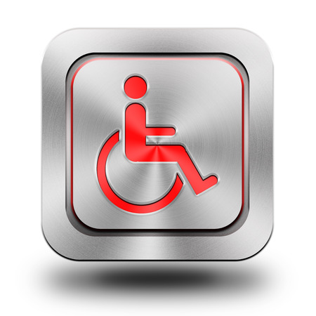 brushed aluminum: Wheelchair , brushed aluminum or stainless steel, glossy icon, button, sign Stock Photo
