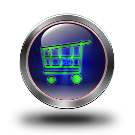 e commerce icon: E- commerce, glossy icon, button, crazy colors, Glossy metallic buttons Stock Photo