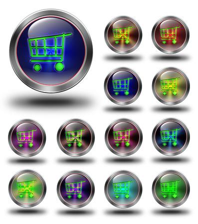 e commerce icon: E- commerce, glossy icon, button, crazy colors, Glossy metallic buttons. Stock Photo
