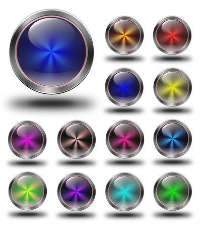 glossy icon, button, crazy colors, Glossy metallic buttons. photo