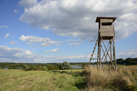 rural landscape: Rural landscape with hunting observation point in Poland Stock Photo