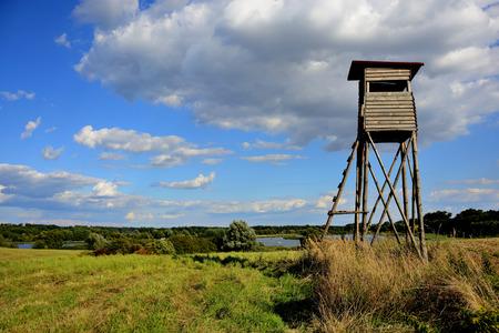 Rural landscape with hunting observation point in Poland Standard-Bild