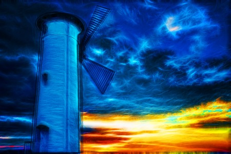 Colour palette of colors at sunset over the sea fractal variations - lighthouse