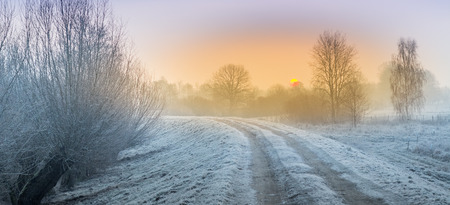 Hoarfrost, rime and frost on the fields, meadows and ponds in the morning Standard-Bild