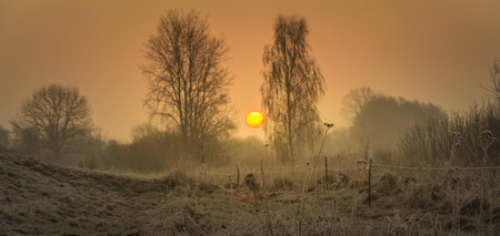 Hoarfrost, rime and frost on the fields, meadows and ponds in the morning Stock Photo