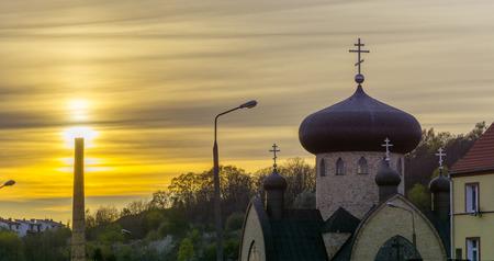 wielkopolska: Orthodox church in Gorzow Wielkopolski at sunset