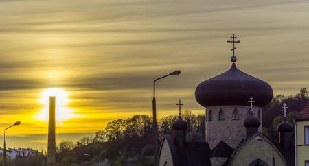 orthodoxy: Orthodox church in Gorzow Wielkopolski at sunset