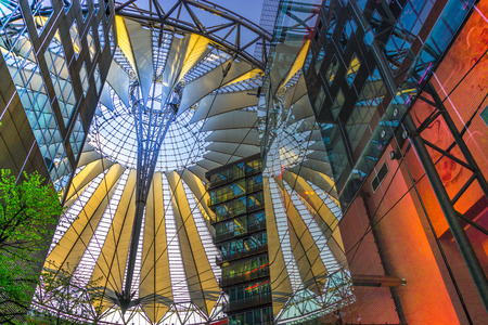 center position: BERLIN, GERMANY The Sony Center on Potsdamer Platz. Sony Center located at the Potsdamer Platz is a Sony-sponsored building complex, opened in 2000 year. Editorial