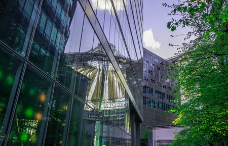 center position: BERLIN, GERMANY 01 May 2015: The Sony Center on Potsdamer Platz. Sony Center located at the Potsdamer Platz is a Sony-sponsored building complex, opened in 2000 year.