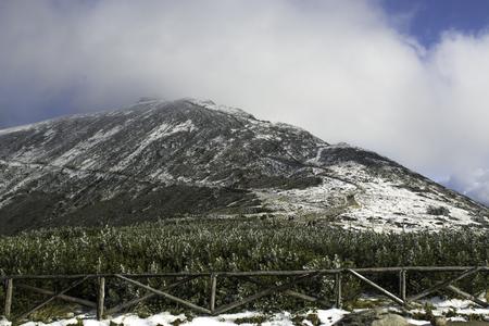 ?nie?ka mountain in the Giant Mountains in winter robe