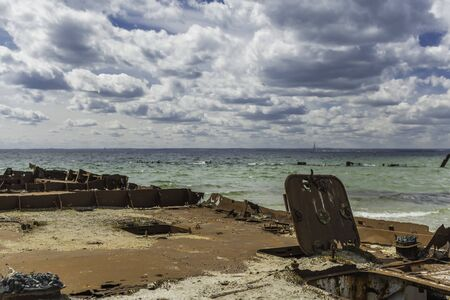 Shipwreck bay on the Hel peninsula in the Baltic Sea Imagens