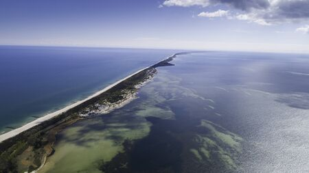 Aerial view of the Hel Peninsula, a charming place on the Baltic Sea, Poland 免版税图像