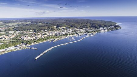 Aerial view of Sassnitz - a city, resort and harbor on the Baltic Sea on the island of R?gen