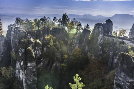 The Bastei bridge, Saxon Switzerland National Park, Germany in autumn