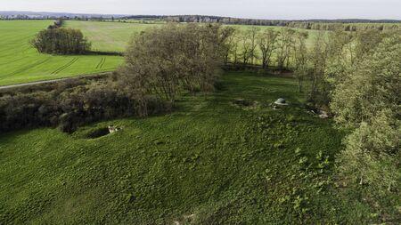 MRU World War II fortification bunker, Pniewo, near Miedzyrzecz, Poland. Entrance to the underground corridor system. German militarized zone from World War II. Aerial view. Standard-Bild