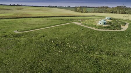 MRU World War II fortification bunker, Pniewo, near Miedzyrzecz, Poland. Entrance to the underground corridor system. German militarized zone from World War II. Aerial view. Standard-Bild