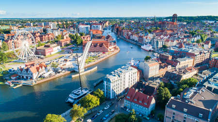 Gdańsk (Danzig) aerial view of the city center and the port
