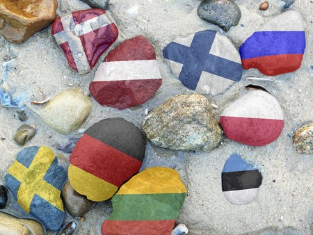bordering: Flags of the nine states bordering on the Baltic sea Stock Photo
