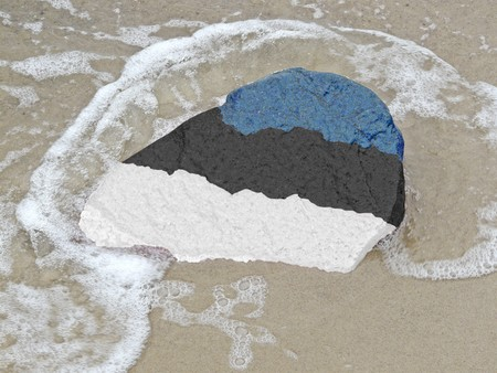 neighbouring: Flag of Estonia on a stone on the Baltic Sea beach
