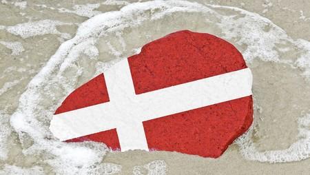 Flag of Denmark on a stone on the Baltic Sea beach photo