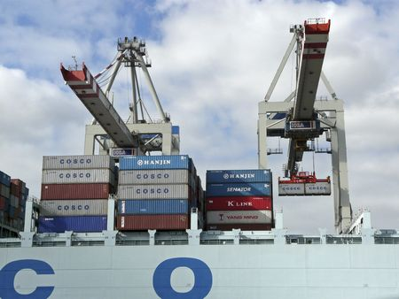hamburg: Container shipping in the Port of Hamburg, Germany Editorial